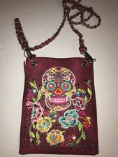 P&G Collection Sugar Skull Clutch Crossbody Phone Purse Burgundy