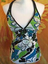 NIKE ~ Women's Black Floral print Tankini top only halter Size 12