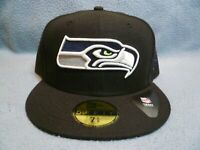 New Era 59fifty Seattle Seahawks Solid BRAND NEW Fitted cap hat Black NFL Hawks