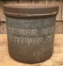 🔥Awesome Antique Embossed FRYEBURG DAIRY MAINE Milk Ice Cream Can Jug Container