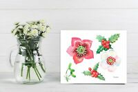 Hellebore Flowers and Holly, Watercolor Original, flower, floral,  botanical