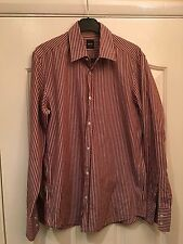 Genuine Men's Hugo Boss Shirt Size Small Excellent Condition Brown Striped