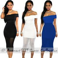 Sexy One Shoulder Sheer Stripe Midi Slim Formal Evening Party Bodycon Club Dress
