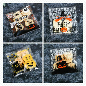 20pcs Halloween Cellophane Candy Lolly Gift Treat Bag Pumpkin Zombie Ghost Witch