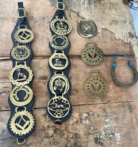 Collection Of 14 Vintage  Solid Brass Horse Brasses.(incl masonic)