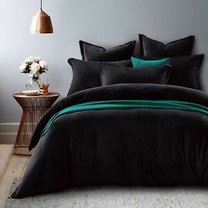 New Ivory & Deene Black Velvet Fur Queen Size Quilt Doona Cover Bed 3PCE Set