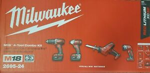 Milwaukee  2695-24 M18™ Cordless LITHIUM-ION 4-Tool Combo Kit NEW in the retail
