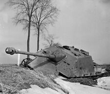 WW2 German Jagdpanther Knocked Out, WWII B&W Photo World War Two Wehrmacht