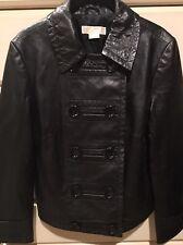 MICHAEL KORS Black Leather Moto Jacket Size L Retail $249
