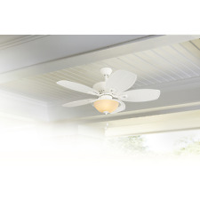 """Damp Outdoor/Indoor 44"""" Patio LED Ceiling Fan Palm Leaf Pull Chain Deck Light"""