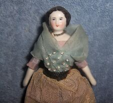 "Antique Vintage German Porcelain China Head Lady Doll House Dollhouse Doll~5.5"""