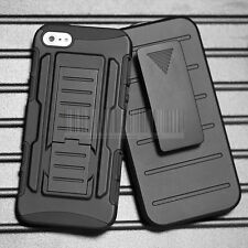 Black Rugged Armor Shockproof Case Hard Cover Clip Holster For Apple iPhone 4 4S