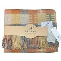 "Bronte By Abraham Moon Loxhill Ochre Check 100% ""Pure New Wool"" Throw"