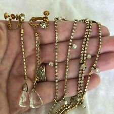 """Vtg MIRIAM HASKELL Signed Necklace + Dangle Earrings Clear Crystal Gold Tone 28"""""""