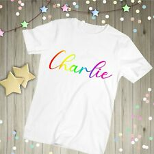 Personalised Rainbow T-Shirt, Childs Name NHS Key Worker Hero Tshirts Custom