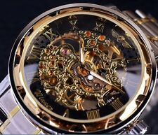 Wrist Watch Men Winner Gold Automatic Mechanical Luxury Skeleton Stainless Steel
