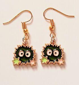 Cute Small Soot Sprite Spirited Away Totoro Hook Earrings Ladies Girls Gift UK