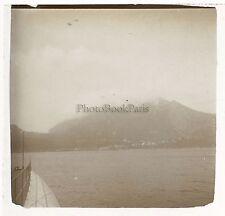 Vésuve vu de la mer Italie Plaque de verre stéréo Positif Vintage 1908