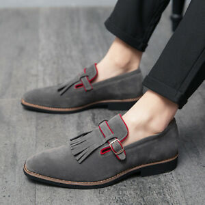 Mens Faux Suede Pointed Toe Buckle Strap Oxfords Fashion Leisure Shoes Plus Size