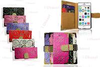Bling Glitter Designer Diamond Card Holder Book Flip Wallet Case Cover s7 6 5 4
