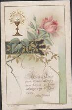 IMAGE PIEUSE HOLY CARD SANTINI-CALICE-ROSES-Allons à Jésus (Abbé Didelot)