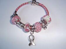 CHILDS 6 1/2 inch Cancer AWARENESS European PINK Glass Bead HOPE Bracelet N-18