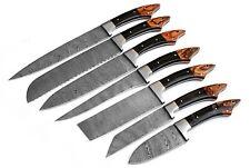 DAMASCUS CHEF/KITCHEN KNIFE CUSTOM MADE BLADE 7 Pcs. Set . EC-1103-H- Br.