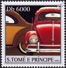 VOLKSWAGEN VW Beetle Käfer Car Stamp #4 Red (2003 St Thomas & Prince Islands)