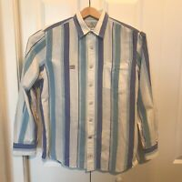 Nautica True Craftsmanship Sea Voyage Button Up Large Mens Shirt Blue/White