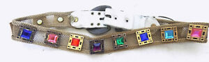 Vintage Gold Mesh and Jeweled Leather Belt Heavy Brass Buckle