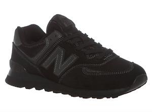 New Balance 574 Core Mens UK 10.5 EU 45 Black Suede & Mesh ML574ETE Trainers