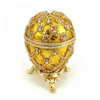 "Faberge Russian Style Royal Coronation Egg Jewelry Box w/Clock GOLDEN 2.75""/8cm"