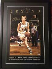 """CELTICS Larry Bird Signed/Framed """"Legend"""" 1997 Costacos Large Poster JSA RARE"""