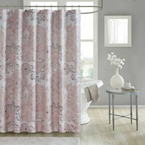 Luxury Blush Pink Botanical Floral Cotton Shower Curtain