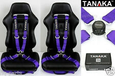 2 TANAKA UNIVERSAL PURPLE 4 POINT CAMLOCK QUICK RELEASE RACING SEAT BELT HARNESS