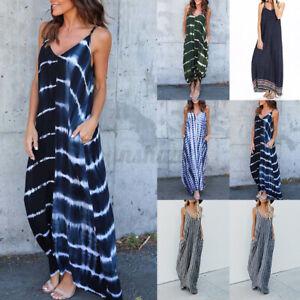 2021 Womens Summer Bohemia Holiday Beach Strap Sundress Striped Long Maxi Dress