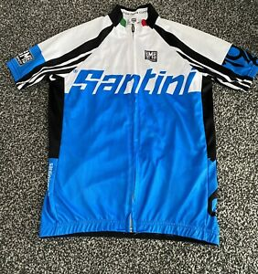 Men's Blue And Black Santini Spellout Made In Italy Cycling Jersey Size Medium