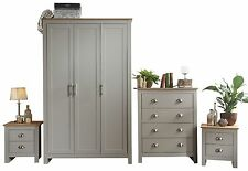 Lancaster 4 Piece bedroom set 3 Door Robe + 2 Bedside + 4 drawer chest Grey