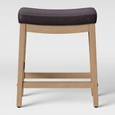 Belvidere Saddle Counter Stool Brown Faux Leather/Natural Leg