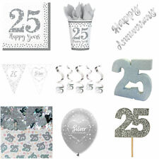 Silver 25th Anniversary Decorations Set Tableware  Banners Bunting Balloons