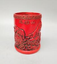 Chinese imitation red resin Five tigers pen container crafts statu