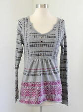 The North Face Gray Wool Linen Baby Doll Sweater Size M Paisley Snowflake Nordic