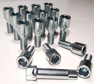 Car wheel Tuner Slim bolts + star key M12 x 1.5 - M12x1.5, taper Renault x 16
