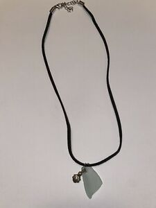 Sea Glass Necklace/ White with Flower Charm/ Black Leather Cord