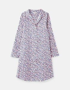 Joules Womens Verity Woven Nightshirt - Lilac Leopard - Xl