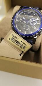BURBERRY BU9807 The City Sport Chronograph Black Check Stamped Men's Watch