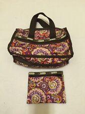 Lesportsac Paisley Shoulder Messenger bag and Make up Bag / clutch - 2pc set