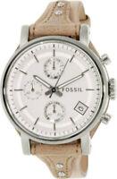 Fossil Women's Original Boyfriend Cot BoneBeig Leather Chronograph Quartz ES3625