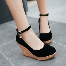 Women Platform Ankle Strap Wedge High Heel Round Toe Shoes Party Buckle Pumps