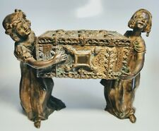 Antique Austrian Vienna Bronze Casket Two Women Carry Chest Figures
